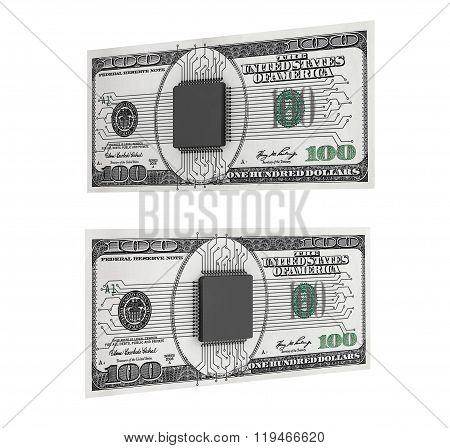 Digital Money Concept. Microchip With Circuit Over Dollars Bills