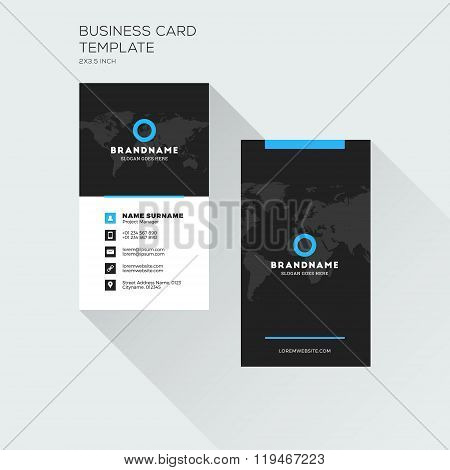Vertical Business Card Print Template. Personal Visiting Card With Company Logo. Black And Blue Colo