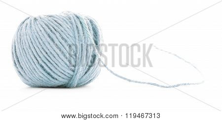 Blue Fiber Skein, Sewing Yarn Roll Isolated On White Background