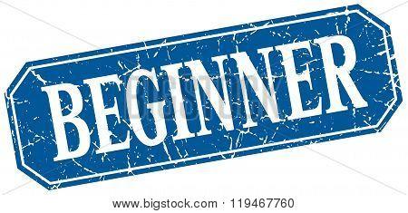 Beginner Blue Square Vintage Grunge Isolated Sign