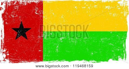 Guinea Bissau vector grunge flag isolated on white background.