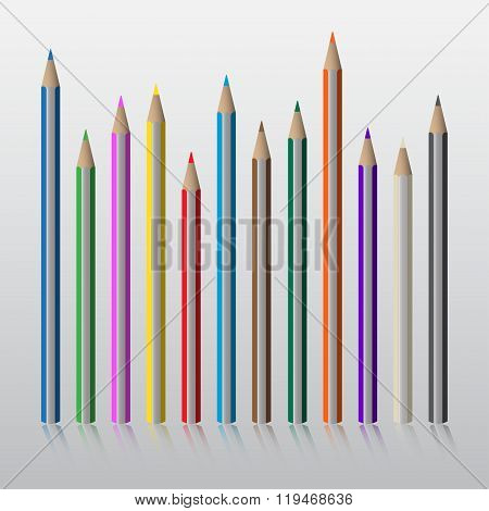 Twelve Colored Pencils