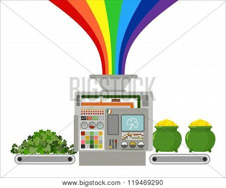 Production Of Gold Leprechaun. Automatic Line For Fabulous Industry. Production Of Treasures For St.