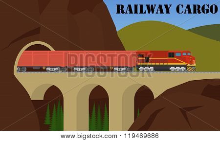 Rail transportation. Freight railroad train over the bridge.