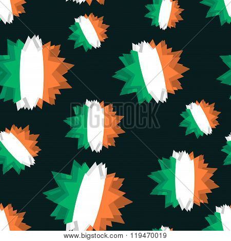 Star Flag Of Ireland Seamless Pattern. Background Of  Irish Flag. Patriotic Abstract Texture Of Iris