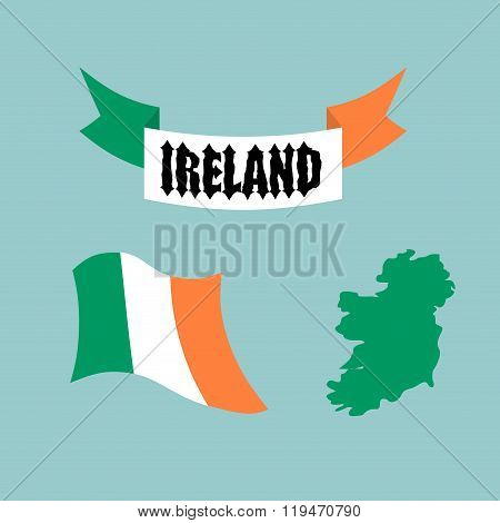 Set Template For Ireland. Map Of Ireland. Ribbon With Celtic Gothic Font. Evolving State Of Irish Fl