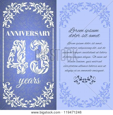 Luxury Template With Floral Frame And A Decorative Pattern For The 43 Years Anniversary. There Is A
