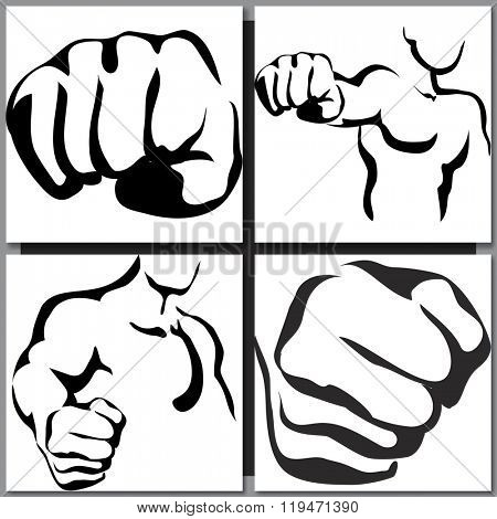 Set of man silhouette sketches. Vector line illustration