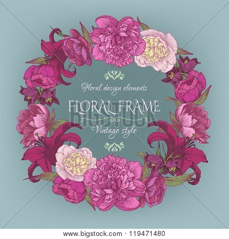 Vintage floral greeting card in shabby chic style.