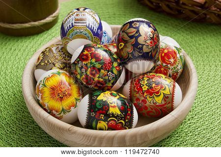 Easter Eggs In A Wooden Plate