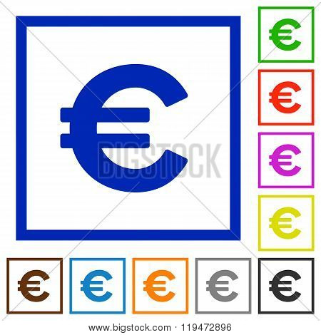 Euro Sign Framed Flat Icons