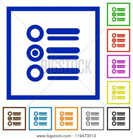 Radio Group Framed Flat Icons
