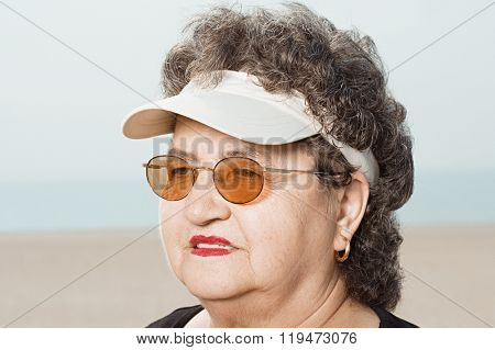 Woman wearing a sun visor