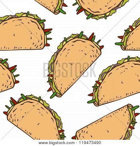 Seamless Pattern with Mexican Taco in Wheat Tortilla
