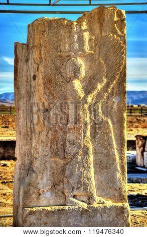 Ancient persian carving in Pasargadae, Iran