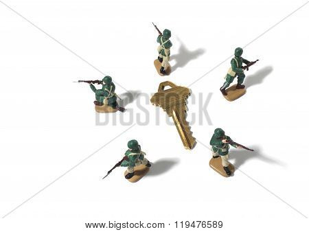Army Men Protecting a House Key