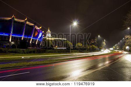 Varna.Bulgaria.04.05.2016.Night Varna  night on roads in Bulgaria