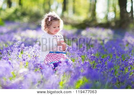 Little Girl Playing In Bluebell Flowers Field