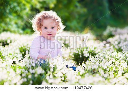 Little Girl In Sunny Flower Field