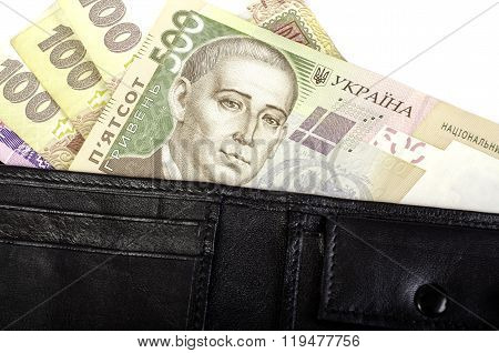 Ukrainian Hryvnia. Banknotes In Denominations 100, 200, 500 In Black Purse.