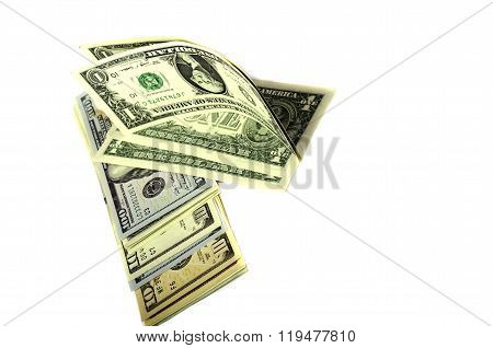 Dollars Of Different Denominations On White Background.