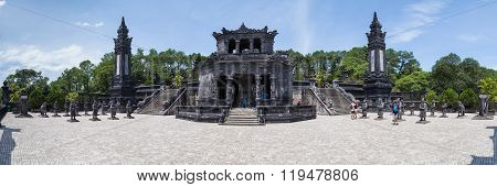 Hue, Vietnam - Circa August 2015: Panorama Of Imperial Khai Dinh Tomb In Hue,  Vietnam