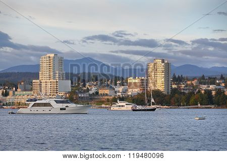 Waterfront condominiums overlook the harbor and marina in Downtown Nanaimo, British Columbia, Canada.