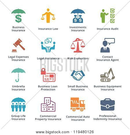 Business Insurance Icons - Colored Series