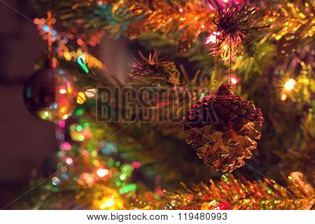 Christmas Background, Christmas Tree Decorated With Twinkling Light And Christmas Ornament In Home