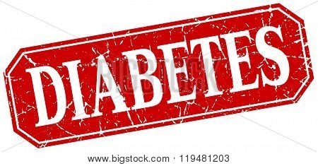 Diabetes Red Square Vintage Grunge Isolated Sign