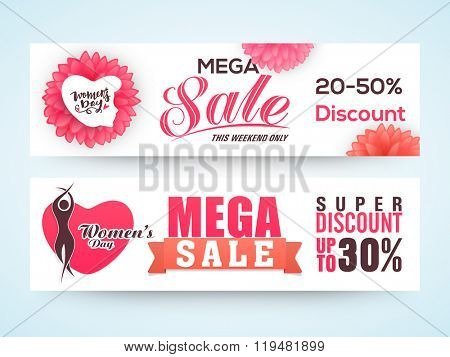 Mega Sale website header or banner set with Super Discount Offer for Women's Day celebration.