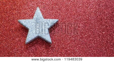 One Great Silver Star On Red Bright Background