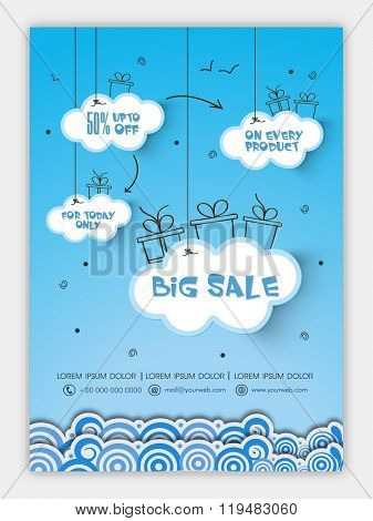 Big Sale Flyer, Banner or Pamphlet with 50% discount offer for limited time only.