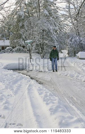 Snow Covered Stroll On A Half Plowed Street