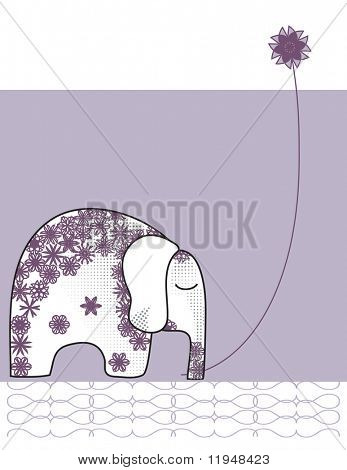Indian Elephant with Flower (Please check my portfolio for this image in vector format)