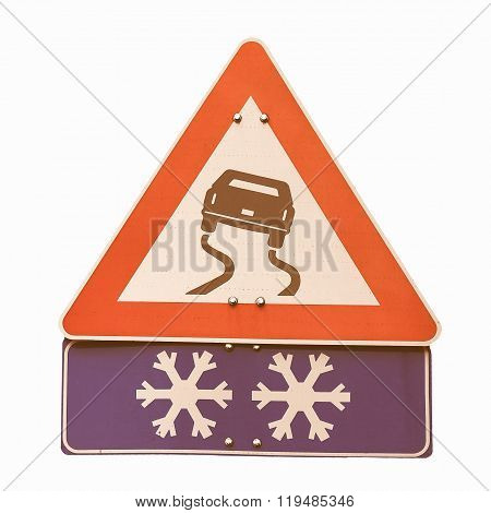 Slippery Road Sign Vintage