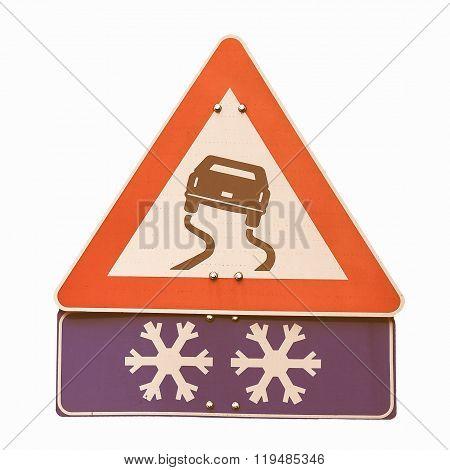 Slippery Road Sign Vintage