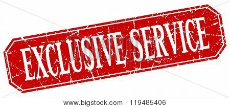 Exclusive Service Red Square Vintage Grunge Isolated Sign