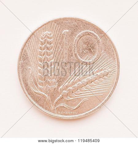 Italian Lira Coin Vintage