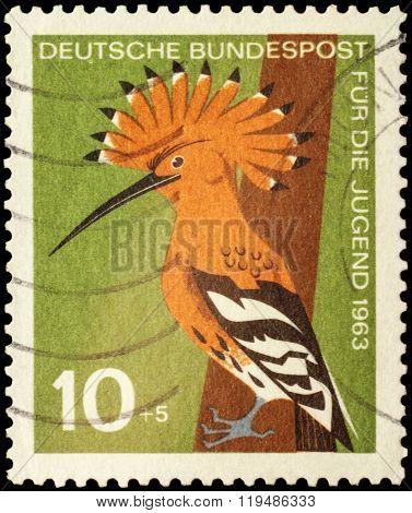 Bird Hoopoe (upupa Epops) On Postage Stamp