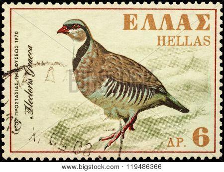 Rock Partridge (alectoris Graeca) On Postage Stamp