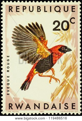 Bird Ukamba Red Bishop (euplectes Orix Nigrifrons) On Postage Stamp