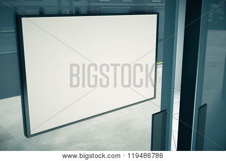 Blank White Signboard On Glassy Door Of Building, Mock Up