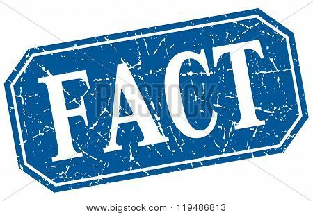 Fact Blue Square Vintage Grunge Isolated Sign