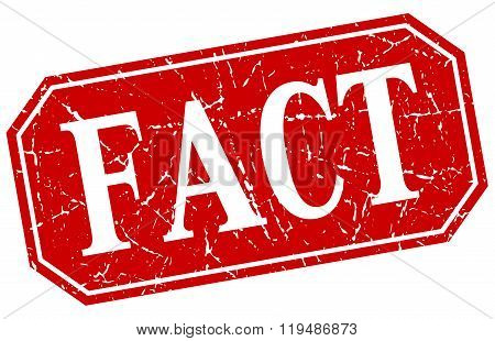 Fact Red Square Vintage Grunge Isolated Sign