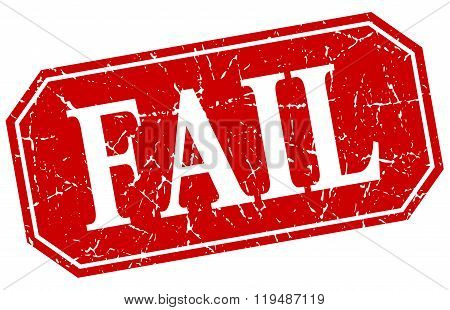 Fail Red Square Vintage Grunge Isolated Sign