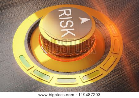 Risk Control Concept With Buttom In Wooden Table
