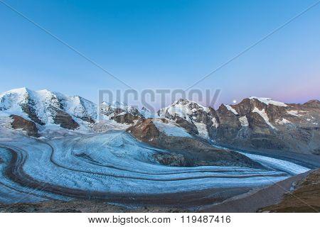 Bernina Massive And Glacier At Dawn
