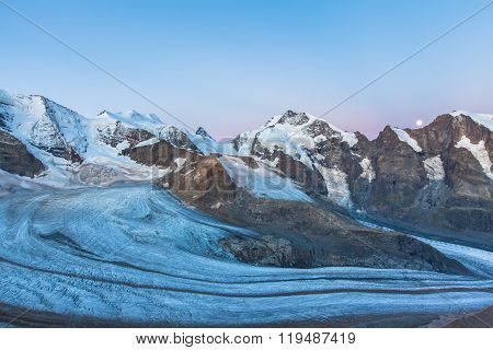 Bernina Massive And Glacier At Dawn