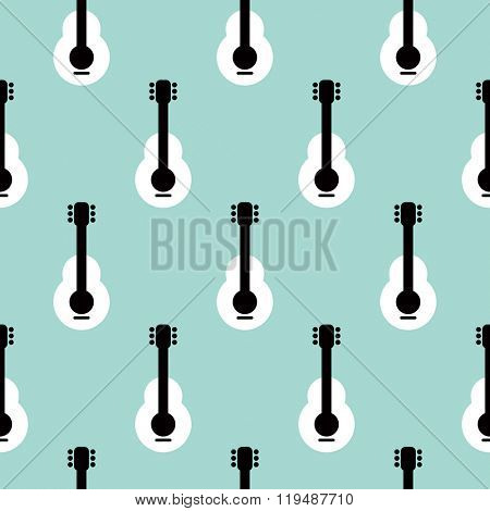 Seamless music instrument retro style guitar illustration background pattern in vector
